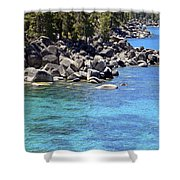 Pines Boulders And Crystal Waters Of Lake Tahoe Shower Curtain