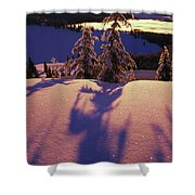 Pink And Purple Sunrise Shadows Of Snow Shower Curtain by Natural Selection Craig Tuttle