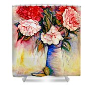 Pink And Red Peony Roses In A Tall Blue Porcelain Vase Shower Curtain