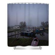 Pink Canoe Shower Curtain by Dawn OConnor