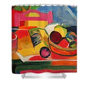 Pink Chair And Pink Plum Shower Curtain