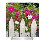Pink Cosmos Flowers And White Picket Fence Shower Curtain