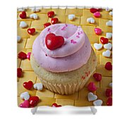 Pink Cupcake With Candy Hearts Shower Curtain
