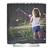 Pink Fishing Rod Shower Curtain