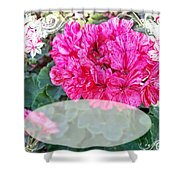Pink Geranium Greeting Card Blank Shower Curtain