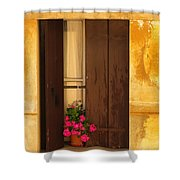 Pink Geraniums Brown Shutters And Yellow Window In Italy Shower Curtain