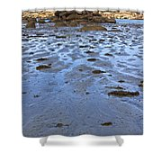 Pink Granite Island In Low Tide Shower Curtain