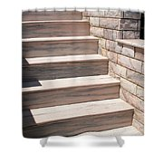 Pink Marble Staircase In Patmos Greece Shower Curtain