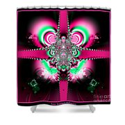 Pink Ribbons And Bow Fractal 75 Shower Curtain