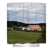 Pink Roof Farm Shower Curtain