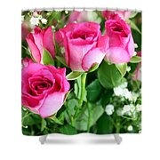 Pink Roses And Gypsophila Bouquet Shower Curtain