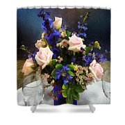 Pink Roses And Purple Delphinium Shower Curtain