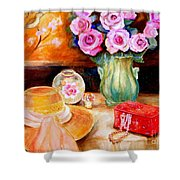 Pink Roses In A Green Vase With A String Of Pearls And A Pretty Summer Straw Hat  Shower Curtain