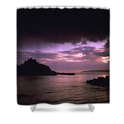 Pink Sky Over St. Michaels Mount Shower Curtain