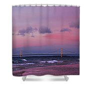 Pink Sunset Over Mackinac Michigan Shower Curtain