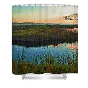 Pink Swamp Sunrise Shower Curtain
