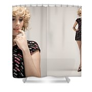 Pink White Black Shower Curtain