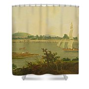 Pinnace Sailing Down The Ganges Past Monghyr Fort Shower Curtain