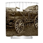 Pioneer Freight Wagon - Nevada City Ghost Town Shower Curtain by Daniel Hagerman