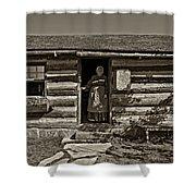 Pioneer Greeting Monochrome Shower Curtain