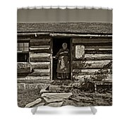 Pioneer Greeting Monochrome Shower Curtain