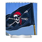 Pirate Flag Skull With Red Scarf Shower Curtain
