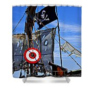 Pirate Ship With Target Shower Curtain
