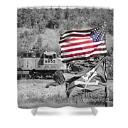 Pirates And Trains Black And White Shower Curtain