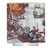 Pirates Burn Havana, 1555 Shower Curtain by Photo Researchers