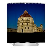 Pisa Tower And Baptistery Cathedral Shower Curtain