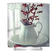 Pitcher With Red Berries  Shower Curtain