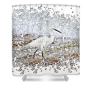 Pixel Cowbird Shower Curtain