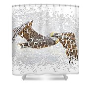 Pixel Pelicano Shower Curtain