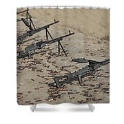 Pk Machine Guns And Spent Cartridges Shower Curtain