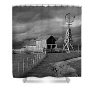 Plains Frontier Farm And Windmill At 1880's Town In South Dakota Shower Curtain