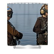 Plane Captains Stand By During Aircraft Shower Curtain