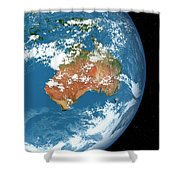 Planet Earth Showing Clouds Shower Curtain