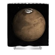 Planet Mars Slightly Tilted To Show Shower Curtain