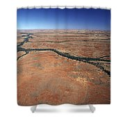 Plants Grow Along Desert River Drainage Shower Curtain