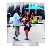 Playing For A Pretty Girl - New Orleans Shower Curtain
