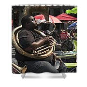 Playing The Tuba _ New Orleans Shower Curtain