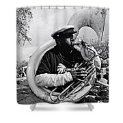 Playing To The Crowd - Bw Shower Curtain