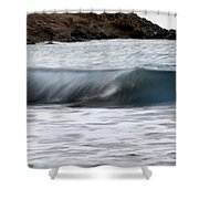 playing with waves 1 - A beautiful image of a wave rolling in noth coast of Menorca Shower Curtain