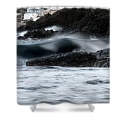 playing with waves 2 - A beautiful image of a wave rolling in noth coast of Menorca Cala Mesquida Shower Curtain