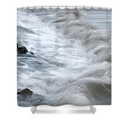 playing with waves 3 - Mediterranean sea foam playing with black stones in cala mesquida - menorca Shower Curtain