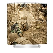 Plebes Navigate The Low Crawl Obstacle Shower Curtain
