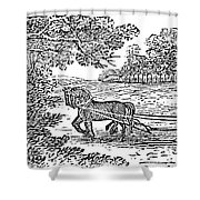 Ploughing, 19th Century Shower Curtain by Granger