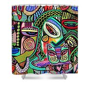 -plump Pink Aztec Kitty And Birds Shower Curtain