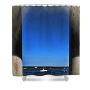 Plymouyh Harbor And Columns Shower Curtain