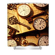 Pocket Watches And Old Keys Shower Curtain